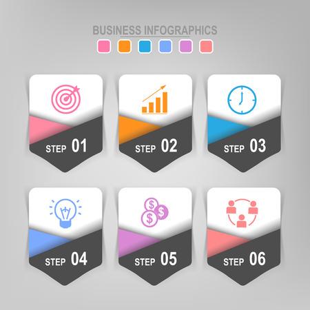 Infographicmalplaatje van zes stappen op vierkanten, markeringsbanner, het werkblad, vlak ontwerp van bedrijfspictogram, vector Stockfoto - 81965268
