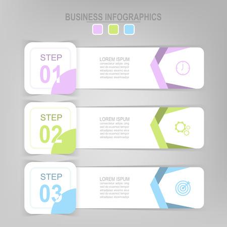 Infografisch sjabloon van drie stappen op vierkanten, tag banner, werkblad, vlak ontwerp van bedrijfs icoon, vector Stockfoto - 81965269