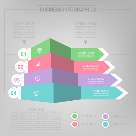 Infographicmalplaatje van vier stappen op vierkanten, markeringsbanner, het werkblad, vlak ontwerp van bedrijfspictogram, vector Stockfoto - 81965279