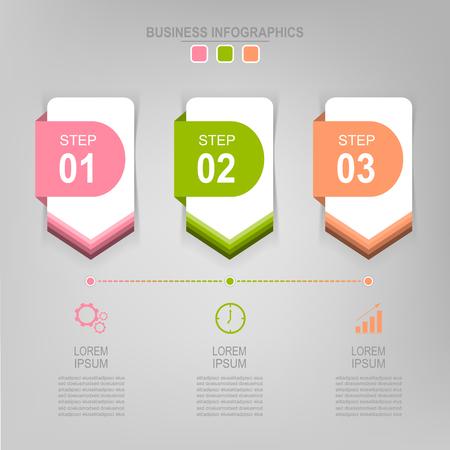 Infografisch sjabloon van drie stappen op vierkanten, tag banner, werkblad, vlak ontwerp van bedrijfs icoon, vector Stockfoto - 81965277