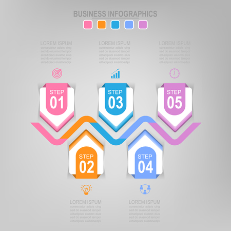 Infographicmalplaatje van vijf stappen op vierkanten, markeringsbanner, het werkblad, vlak ontwerp van bedrijfspictogram, vector Stock Illustratie