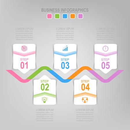 Infographicmalplaatje van vijf stappen op vierkanten, markeringsbanner, het werkblad, vlak ontwerp van bedrijfspictogram, vector Stockfoto - 81965288