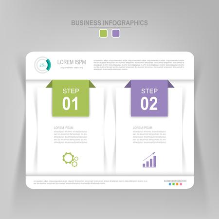 Infografisch sjabloon van twee stappen op vierkanten, tag banner, werkblad, vlak ontwerp van bedrijfs icoon, vector