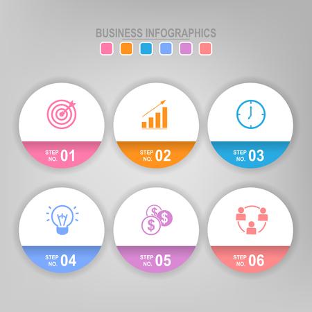Infographicmalplaatje van stap zes op cirkel, markeringsbanner, het werkblad, vlak ontwerp van bedrijfspictogram, vector