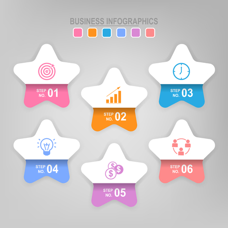 Infographicmalplaatje van zes stappen op vierkanten, markeringsbanner, het werkblad, vlak ontwerp van bedrijfspictogram, vector Stock Illustratie