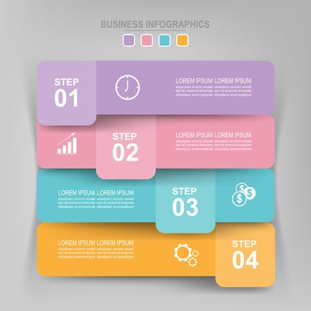 Infographicmalplaatje van vier stappen op vierkanten, markeringsbanner, het werkblad, vlak ontwerp van bedrijfspictogram, vector Stockfoto - 81965291