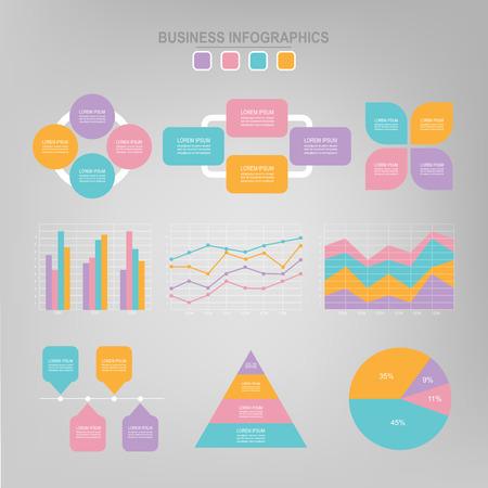 Infographic sjablooncollectie, tag banner, werk blad document, platte ontwerp van zakelijke pictogram, element vector