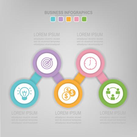 Infographicmalplaatje van stap op cirkel, markeringsbanner, het werkblad, vlak ontwerp van bedrijfspictogram, vector