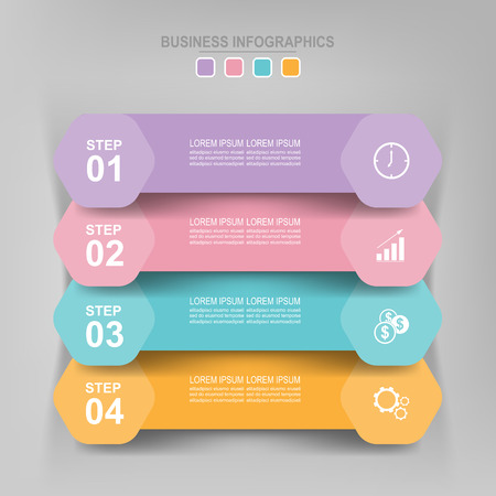 Infographicmalplaatje van vier stappen op vierkanten, markeringsbanner, het werkblad, vlak ontwerp van bedrijfspictogram, vector Stockfoto - 82050785