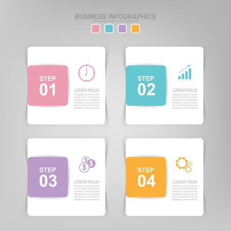 Infographicmalplaatje van vier stappen op vierkanten, markeringsbanner, het werkblad, vlak ontwerp van bedrijfspictogram, vector Stockfoto - 82050789