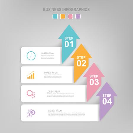 Infographicmalplaatje van vier stappen op vierkanten, markeringsbanner, het werkblad, vlak ontwerp van bedrijfspictogram, vector Stockfoto - 82024800