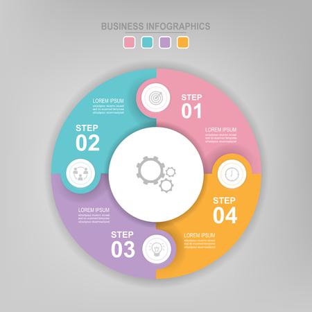 Infografisch sjabloon van kleurrijke cirkel, cirkeldiagram diagram, werkblad element, vlak ontwerp van bedrijfs icoon, vector