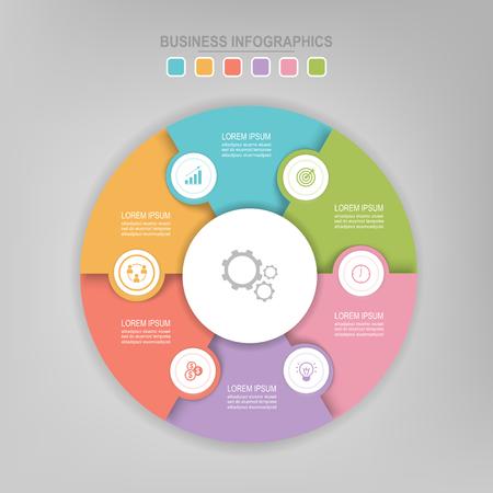 Infografisch sjabloon van kleurrijke cirkel, cirkeldiagram diagram, werkblad element, vlak ontwerp van bedrijfs icoon, vector Stockfoto - 82038681