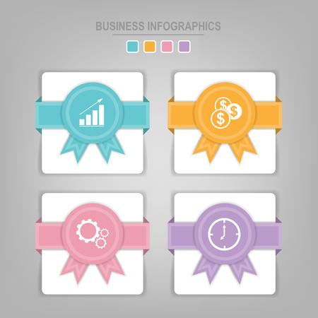Infographicsmalplaatje van vier stappen op vierkanten, het element van de markeringsbanner, het werkblad, vlak ontwerp van bedrijfspictogram, pastelkleurvector