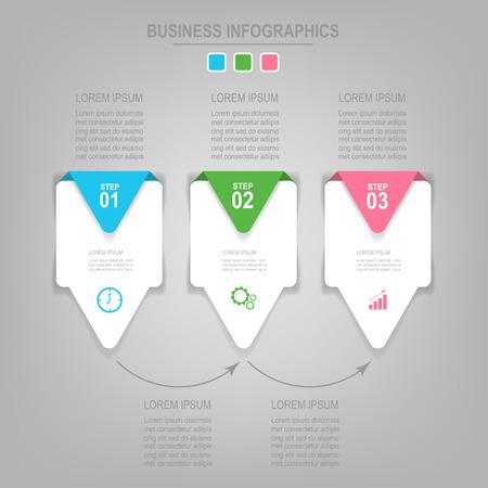 Sjabloon van drie stappen op vierkanten, label bannerelement, werk blad, platte ontwerp van zakelijke pictogram.