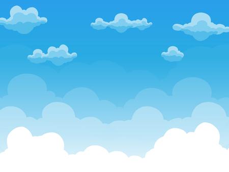 Groep wolken op blauwe hemel, achtergrond van beeldverhaalmening, vector