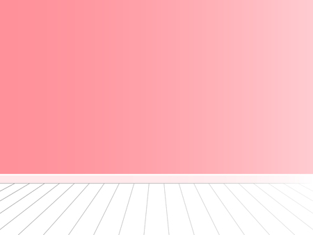 Pink wall with white floor, empty room interior vector