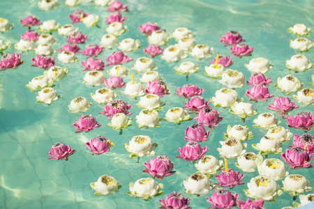Lotus design float on the water for worship Guanyim Stutue in Thailand