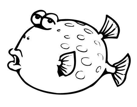 Big fish. puffer fish Vector