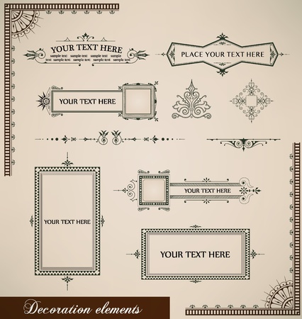 calligraphic elements vintage set.  Vector
