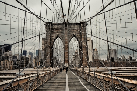 Brooklyn bridge and cable pattern photo