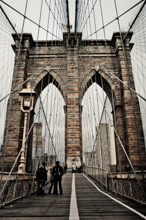 river scape: View on the Brooklyn bridge New York