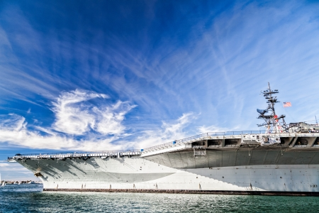 USS midway aircraft carrier in beautiful sky  photo