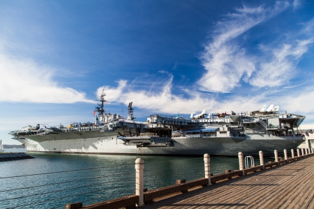 USS midway aircraft carrier in beautiful sky