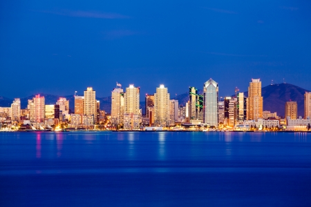 San Diego skyline in twilight Stock Photo