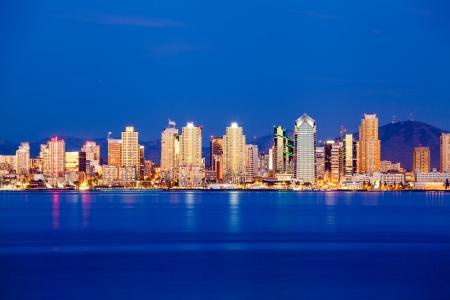 san diego: San Diego skyline in twilight Stock Photo