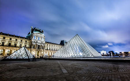 louvre pyramid:  Louvre Museum and Pyramid at night  Editorial