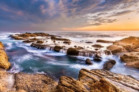 Beautiful southern California seascape in sunset, USA  Stock Photo