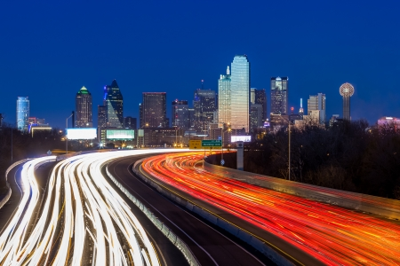 Dallas downtown skyline at night 스톡 콘텐츠