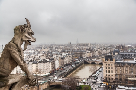 chimera: Paris city in cloudy day from the top of Notre Dame Cathedral  Stock Photo
