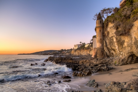 California coastline in Laguna Beach, USA photo