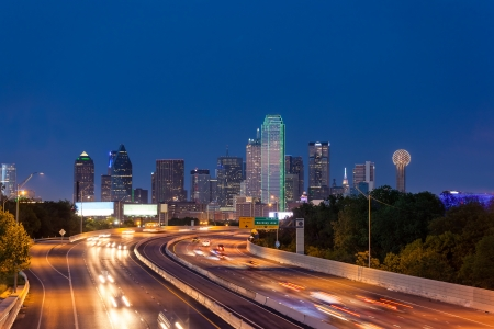 south texas: Dallas downtown skyline at night Stock Photo