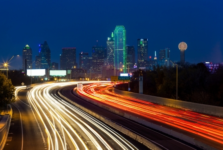 night highway: Dallas downtown at night
