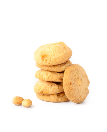 macadamia nut: Isolated stack of macadamia and white chocolate cookies
