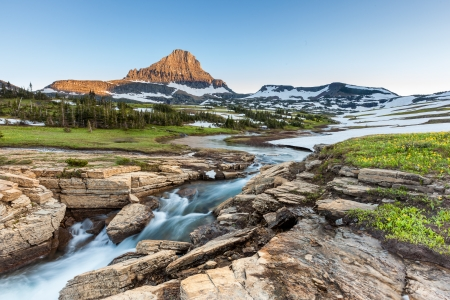 Beautiful nature at Logan Pass, Glacier National Park, MT in Summer Stock Photo