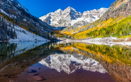 winter and Fall foliage at Maroon Bells, CO photo