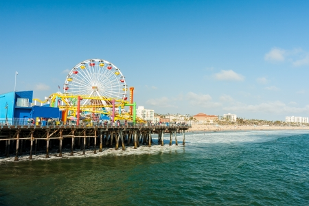 Santa Monica pier, CA in nice sunny day Stock Photo