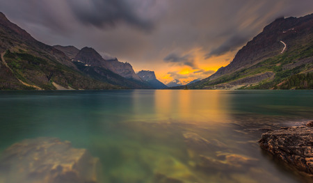nature photography: Sunset at St  Mary Lake, Glacier national park, MT