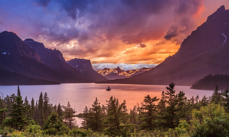 Beautiful sunset at St  Mary Lake in Glacier national park Stock Photo