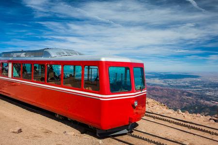 rocky peak: Pikes Peak Cog Train from top of Pike Peak, Colorado Springs, CO