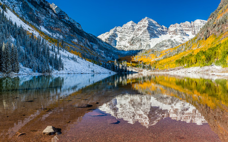 Panorama view of Maroon Bells national park in Falls, Aspen, Colorado  photo