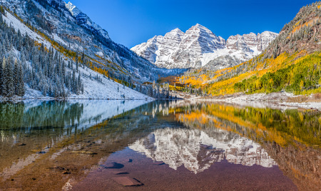 Panorama view of Maroon Bells national park in Falls, Aspen, CO photo