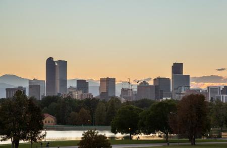 denver skyline at sunset: Denver downtown skyline and rocky mountain at sunset