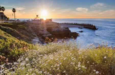 ラ ホーヤ コーブ ビーチ、San Diego、カリフォルニア州の夕日