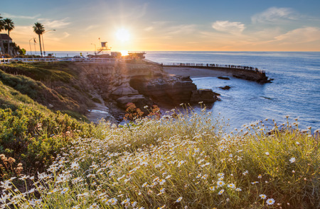 san diego: Sunset at La Jolla cove beach, San Diego, California