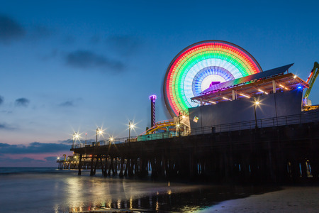 Santa Monica Pier after sunset, Santa Monica, California, USA. photo